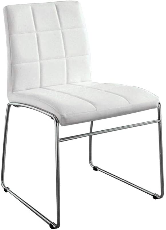 Benjara Benzara Kona, Set of Two, White Oahu Contemporary Side Chair with Steel Tube, Finish