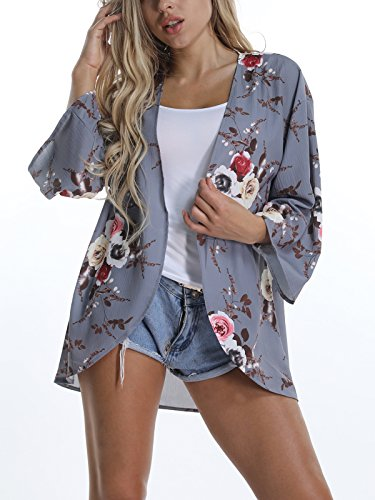 VYNCS Women's Sexy 3/4 Sleeve Floral Print Cardigans Blouse Tops Chiffon Casual Beach Cover up Summer (Grey, (Print 3/4 Sleeve Cardigan)