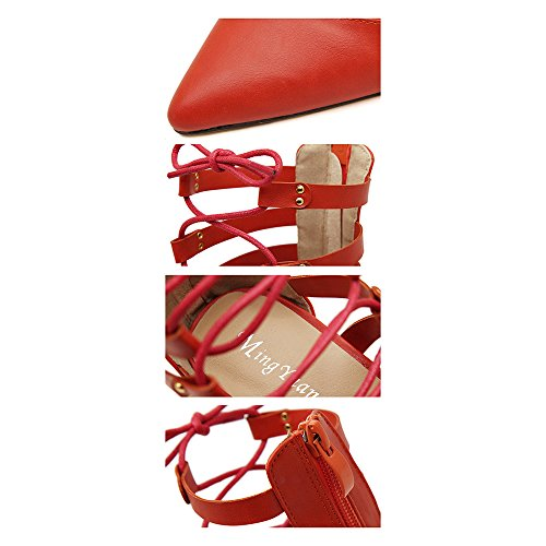 Cross Thin Night High red Hollow Sandals Sexy up 39 Lace Pointed Club Shoes Heel qnYptxTt