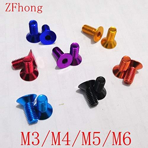 10PCS M3 m4 m5 m68//10//12//15//20//25 Colourful Aluminum Flat hex Socket countersunk Head Screw Screws
