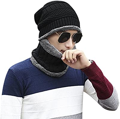 MENS LADIES SLOUCH BEANIE HAT SNOOD NECK WARMER WINTER FLEECE LINED CHUNKY KNIT