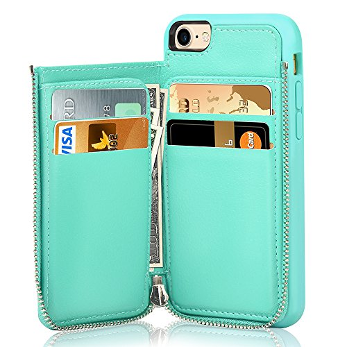 iPhone 7 Wallet Case/iPhone 8 Case Wallet - LAMEEKU Leather Credit Card Slot Holder Cover with Zipper Wallet, Protective for Apple iPhone 7 (2016) / iPhone 8 (2017) 4.7 inch - Mint Green