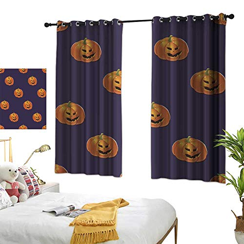 wwwhsl Diversified Curtains Halloween Background with Pumpkins Customized Personalized Soft Light Blocking W62.9 xL72]()