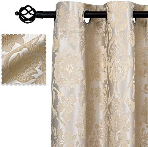 Allbright 100 Blackout Lined Curtains, Jacquard Shading Lining 2 Layers Completely Blackout Window Treatment Thermal Insulated Drapes for Bedroom Living Room 52 W x 96 L, Silver Beige 2 panels