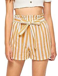 MAKEMECHIC - Pantalones Cortos para Mujer con Cintura elástica y Rayas, Amarillo, S