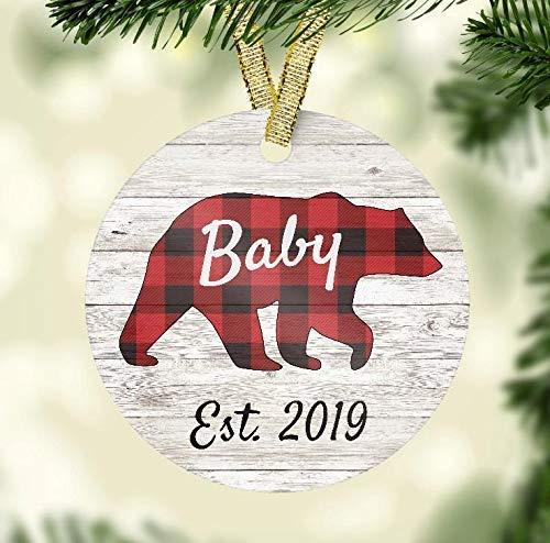 Christmas Ornament - Baby Bear Est. 2019 - Red Buffalo Plaid Ceramic ()