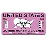 Zombie Hunting License Permit Pink United States - Biohazard Response Team Novelty Metal Vanity License Tag Plate