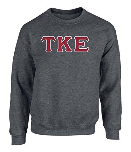 (Tau Kappa Epsilon Twill Letter Crewneck Sweatshirt By Fashion Greek Dark Heather RW)