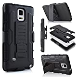 Galaxy Note 4 Case, Jwest Note 4 Holster Case Full-Body Rugged Shock Proof Defender Heavy Duty Armour Tough Swivel Belt Clip Stand Case Cover for Samsung Galaxy Note 4(Black/Black)