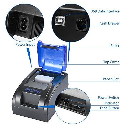 HILLPOW Impresora térmica del recibo del USB de los 58MM, impresión de Alta Velocidad 90m m/seg, Compatible con los comandos de la impresión de ...