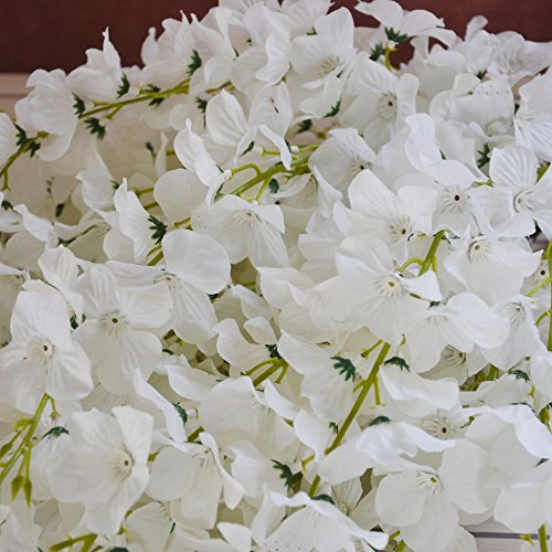 50 Pcs Single Artificial Fake Wisteria Vine Ratta Silk Flower for Garden and Home Decor white