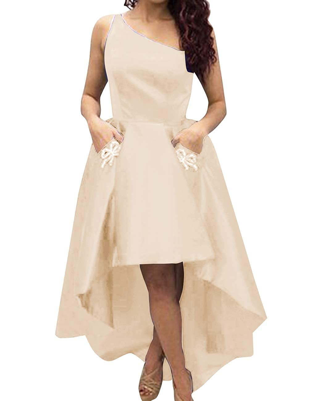 Champagne MorySong Women's One Shoulder High Low Sain Prom Cocktail Dress with Pockets