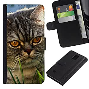 EuroCase - Samsung Galaxy Note 4 SM-N910 - yellow eyes cat mongrel grey angry - Cuero PU Delgado caso cubierta Shell Armor Funda Case Cover