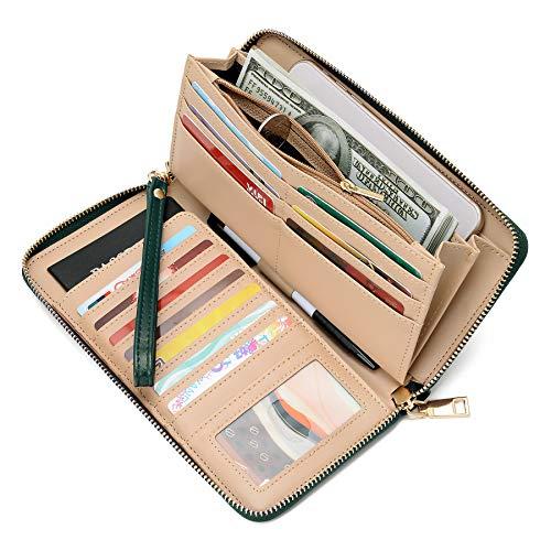 WOZEAH Women's RFID Blocking PU Leather Zip Around Wallet Clutch Large Travel Purse (C dark green) ()
