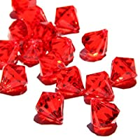 Round Diamond Crystals Treasure Gems for Table Scatters, Vase Fillers, Event, Wedding, Birthday Decoration Favor, Arts & Crafts (1 lb. Bag) By Homeneeds Inc (RUBY RED)
