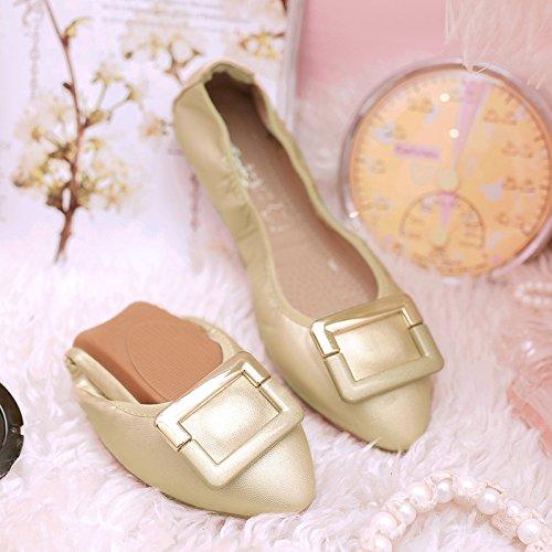 GAOLIM Sugerencia Fondo Plano Solo Zapatos Cómodos De Luz A Zapatos Planos Con Soja Rollos De Huevo Zapatos De Mujer Grandes Números 41-45 El Oro