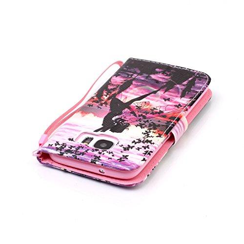 PU Galaxy S7 Edge Hülle,Hochwertige Kunst-Leder-Hülle mit Magnetverschluss Flip Cover Tasche Leder [Kartenfächer] für Samsung Galaxy S7 Edge Schutzhülle Lederbrieftasche Executive Design +Staubstecker 4