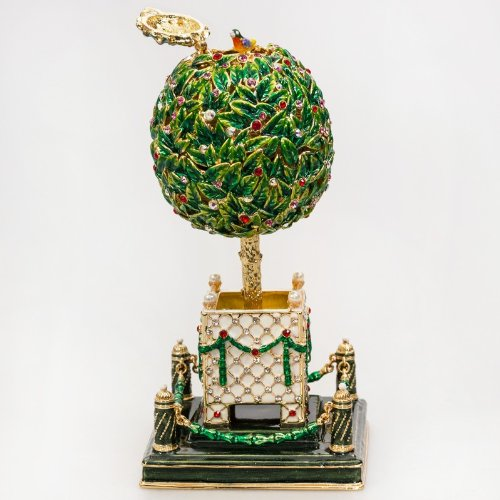 Swarovski Crystals Ornamental Bay Tree Green Large Gold Plated Faberge Style Musical Egg Box Figurine Limited Edition Collectible Faberge Reproduction