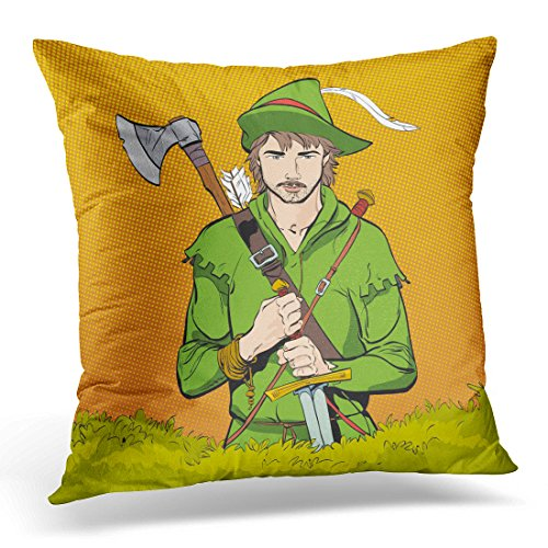 Emvency Throw Pillow Cover Robin Hood in Hat with Feather Young Soldier Noble Robber Defender of Weak Medieval Legends Heroes Decorative Pillow Case Home Decor Square 18