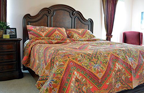 Tache 3 Piece Red Hanging Gardens Chevron Bedspread Set, - Bedding Print Hawaiian