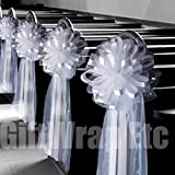 6 Large 10'' White Tulle Pew Bows Wedding Church Aisle Ceremony Decorations