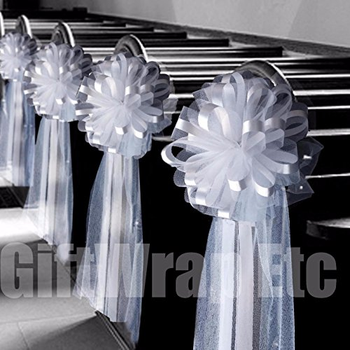 6 Large 10'' White Tulle Pew Bows Wedding Church Aisle Ceremony Decorations by giftwrap*etc