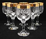 ''Cristalleria Fratelli Fumo'' Stemmed Crystal Water Wine Beverage Glasses, 24 Karat Gold Rimmed Greek Key Accent, 9 Oz. Made in Italy SET OF 6