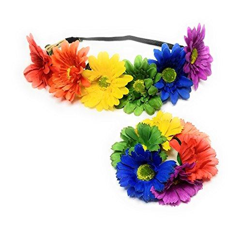 (Rainbow Flower Crown Headband Elastic Gay Pride LGBT Daisy Bracelet Hair)