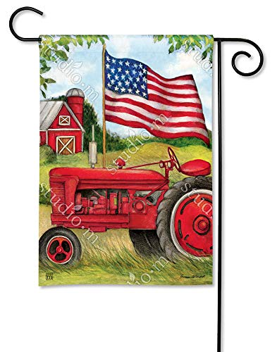 BreezeArt Studio M Patriotic Tractor Decorative Garden Flag - Premium Quality, 12.5 x 18 Inches