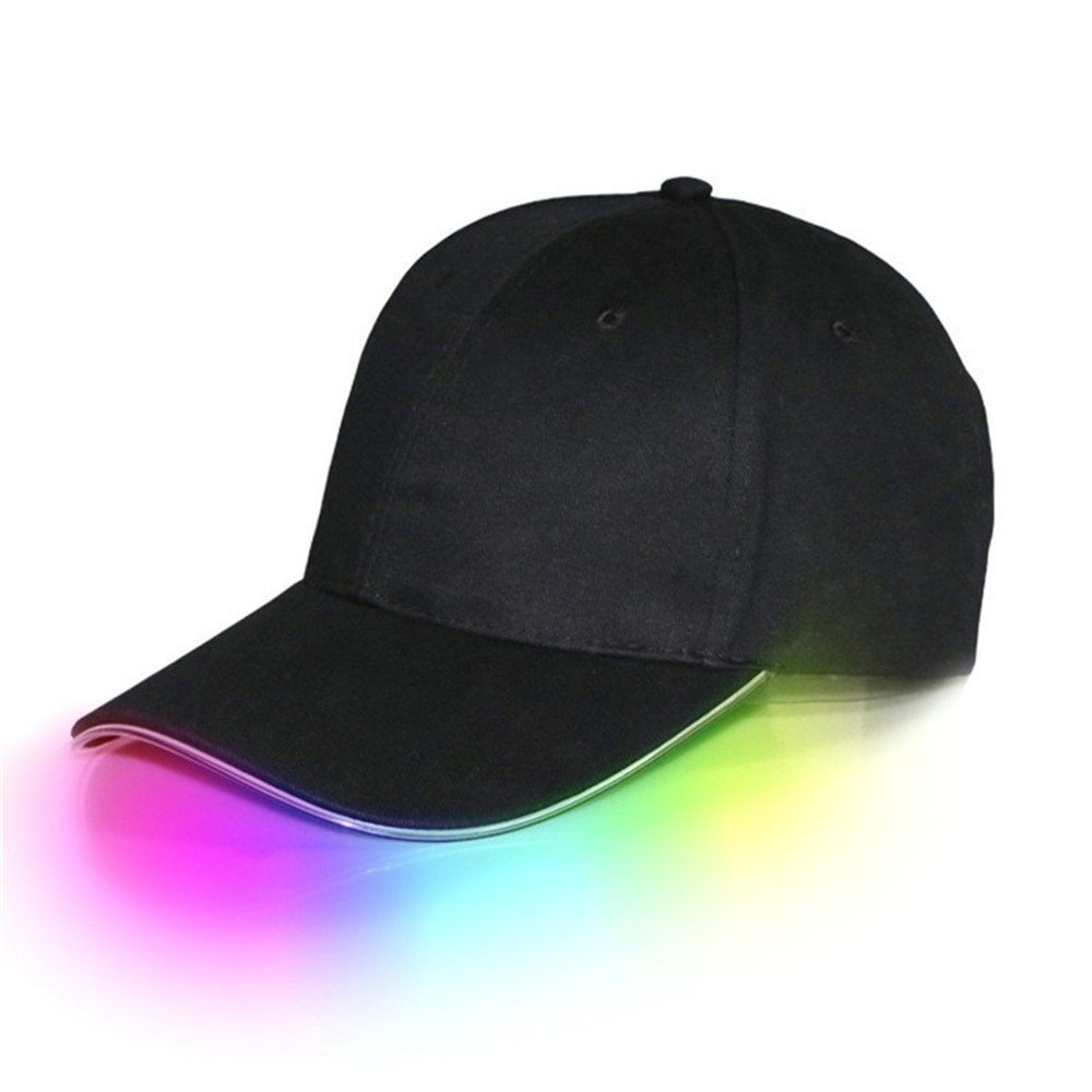 JIGUOOR LED Hat, light up Hat, Baseball Golf Hip-hop Sport flash Cap with Black Fabric suitable for indoor, outdoor, Club, Party, Sports, Travel, Stage Performance to Men, Women by jiguoor