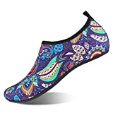 Water Shoes for Womens and Mens Summer Barefoot Shoes Quick Dry Aqua Socks for Beach Swim Yoga Exercise (Bohemian/Purple, 38/39)