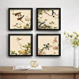 SAF Love Bird Designer Set of 4 UV Textured Painting (19 x 19 Inches, SAF_SET4_12)