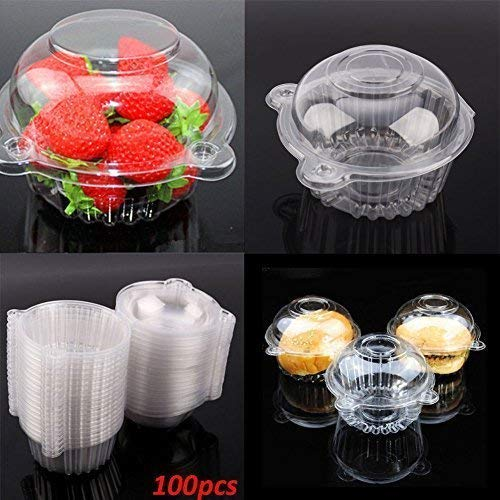 GOTOTOP 400pcs Cake Boxes-Clear Plastic Single Individual Cupcake Boxes Holder Muffin Case Patty Container Cupcake Car Cake Take Out Containers by GOTOTOP (Image #3)