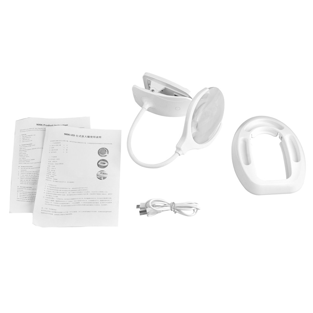 Hukai Lighted Table Top Desk Magnifier Magnifying Glass With Lamp USB Powered Clip (3X, 8X)