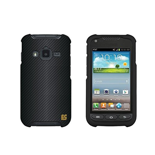 Protective Case For Samsung Galaxy Rugby Pro i547 Slim Two Piece Snap On Case Hard Plastic Rubberize Feel Carbon Fiber