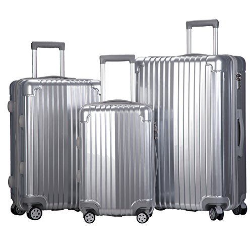 Merax Dawnrise Luggage Set 3 Piece Suitcase ABS+PC with TSA Lock and Dual Spinner Wheels (Silver)