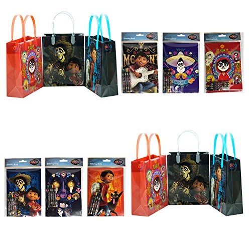 (12pc coco Disney Pixar Birthday Party Supply Favor Gift Bags w/coloring)