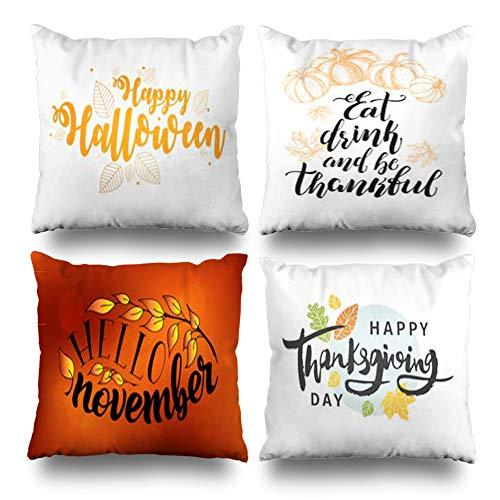 Suesoso Decorative Pillows Case 20 x 20 Inch Set of 4,Happy Halloween Thanksgiving DayThrow Pillowcover Cushion Decorative Home Decor Nice Gift Garden Sofa Bed Car