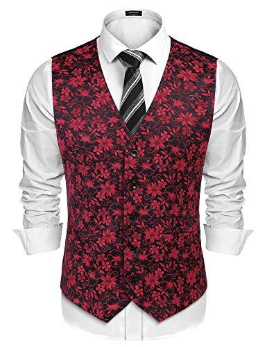COOFANDY Men's Suit Vest Slim Fit Floral Jacquard Wedding Party Dress Tuxedo Waistcoat Red ()