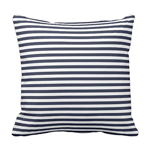 Emvency Throw Pillow Cover Navy Blue and White Nautical Stripes Decorative Pillow Case Striped Home Decor Square 20 x 20 Inch Cushion (French Stripe Pillow)