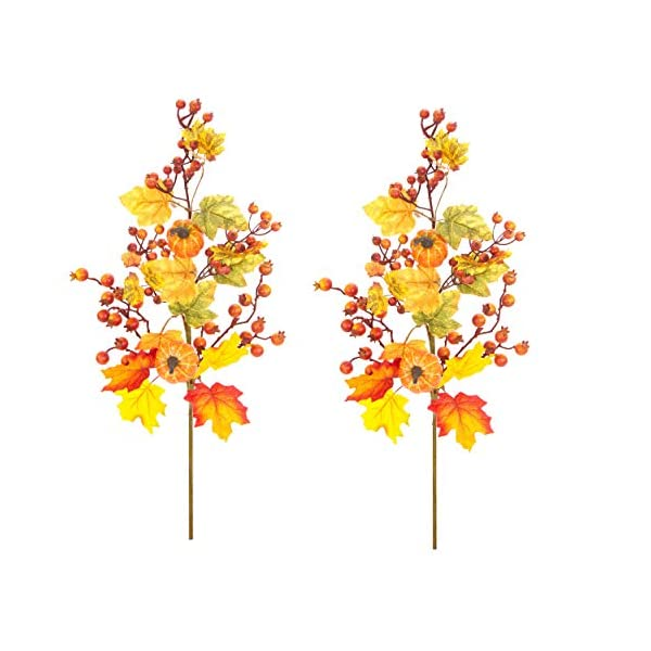 Admired By Nature ABN3L003-RDGDGN-2 Realistic Faux 29 Inch Pumpkin Berry Spray Fall décor, Set of 2, Red/Gold/Green, Mix Color