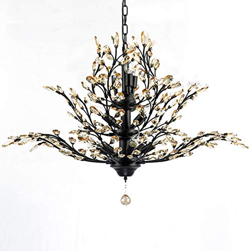 Iron Wrought Branch (Modern Crystal Chandelier, Motent Vintage 11-Light Metal Branch Pendant Lamp with Clear K9 Crystal, Iron Wrought Hanging Lighting Fixture with E14 Candelabra Base, 32