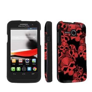 NakedShield Alcatel One Touch Evolve 5020 Red Skulls Total Armor Art Phone Case