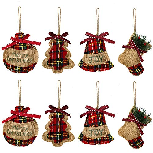 YOSICHY Rustic Christmas Tree Ornaments Stocking Decorations Burlap Country Christmas Stocking Ball Tree Bell with Trendy Red and Green Plaid Tartan for Holiday Party Decor-8PCS (Handmade Ornaments Christmas)