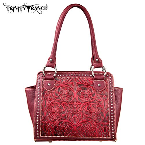 Handbag L8250 Montana Tooled Red Design West Ranch TR18 Trinity Collection nwf4p86fqF