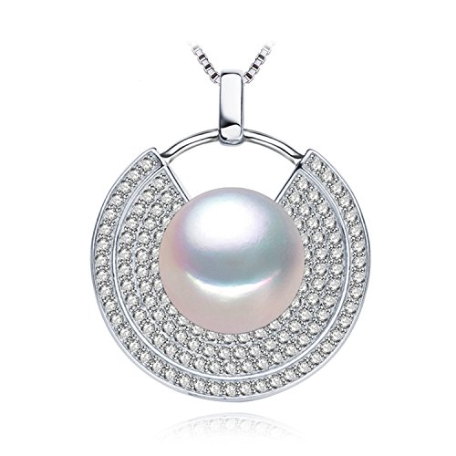 SuperLouisa Fashion Pearl Jewelry 10-11mm Pearl Pendants For Women,geometric 925 sterling silver pearl pendant for love - Outlet Authentic Tiffany Jewelry