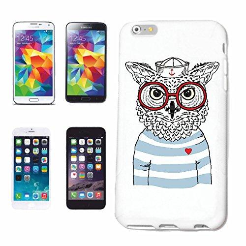 """cas de téléphone iPhone 7+ Plus """"OWL Déguisé en SEAMAN AVEC LUNETTES UHU NIGHTINGALE hiboux OWL"""" Hard Case Cover Téléphone Covers Smart Cover pour Apple iPhone en blanc"""