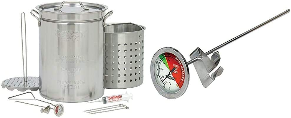 Bayou Classic 1118 32-Quart Stainless Steel Turkey Fryer & Stainless Steel Thermometer
