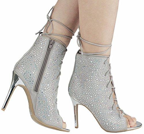 Women Silver Glitter Crystal Rhinestone Peep Toe Platform High Heel Evening Dress Bootie (Toe Rhinestone Platform)