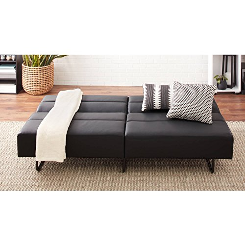 Sleeper Upholstered Chair (Easy to Assemble, Modern and Comfortable Sleeper with 3 Position Click-clack Technology Sofa Bed (Black - Faux Leather))
